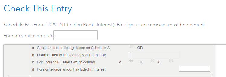 What is meant by Foreign source amount included in interest on – 1099 Worksheet