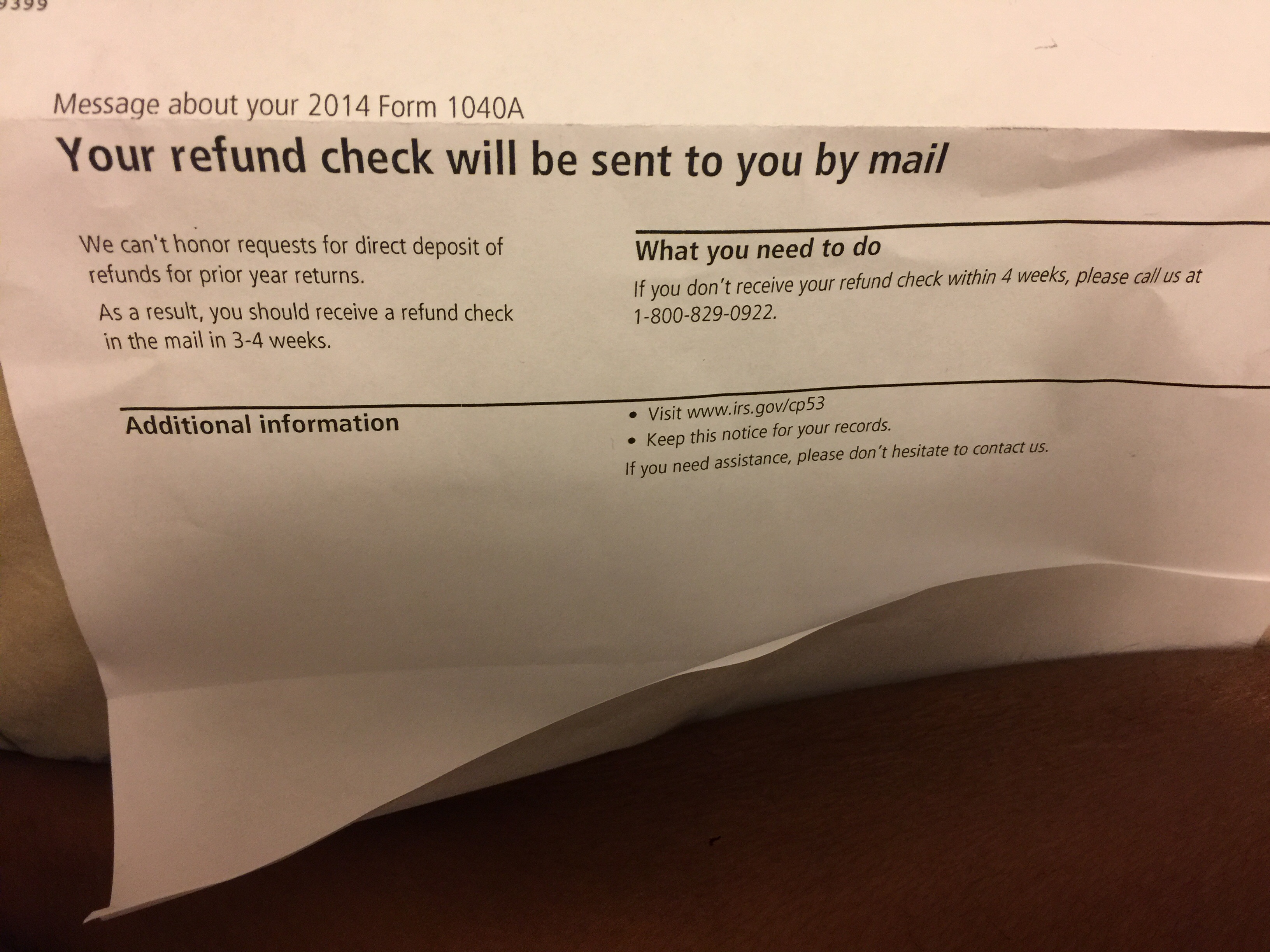 Your refund check will be sent to you by mail they say that it imageg falaconquin