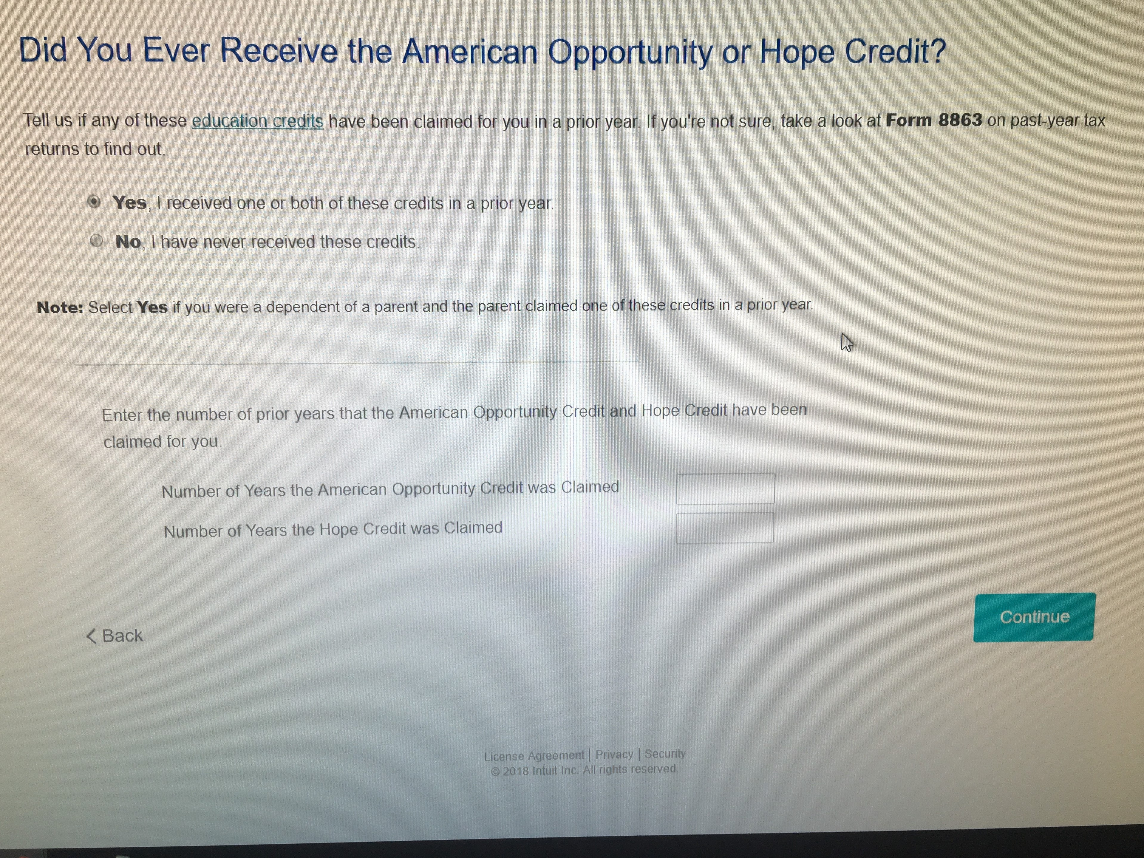 Did you ever receive the american opportunity or hope credit 1g falaconquin