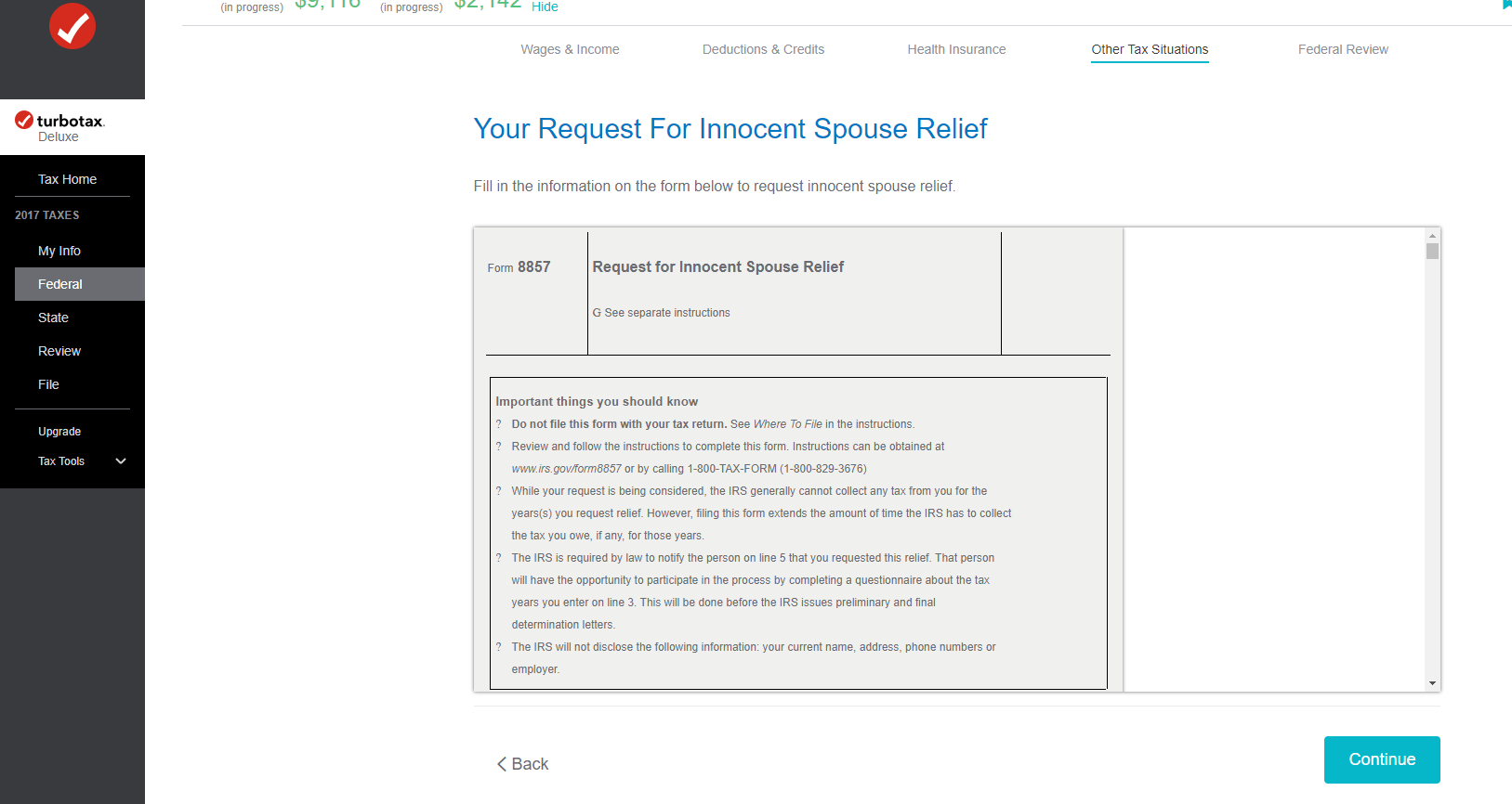 I am trying to include form 8379 buy it keeps going back to for 3 yourrequestforinnocentspousereliefg falaconquin
