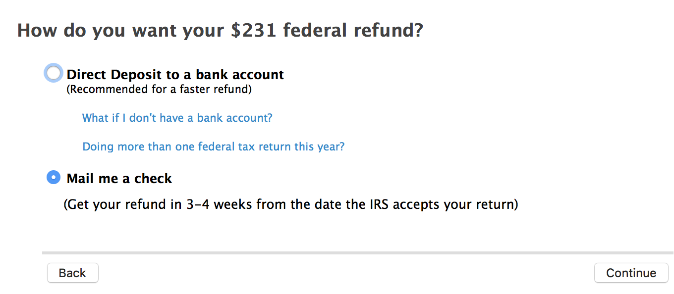 Screen stuck on federal refund option direct deposit or check screenshot2018 02 07at72427amg falaconquin