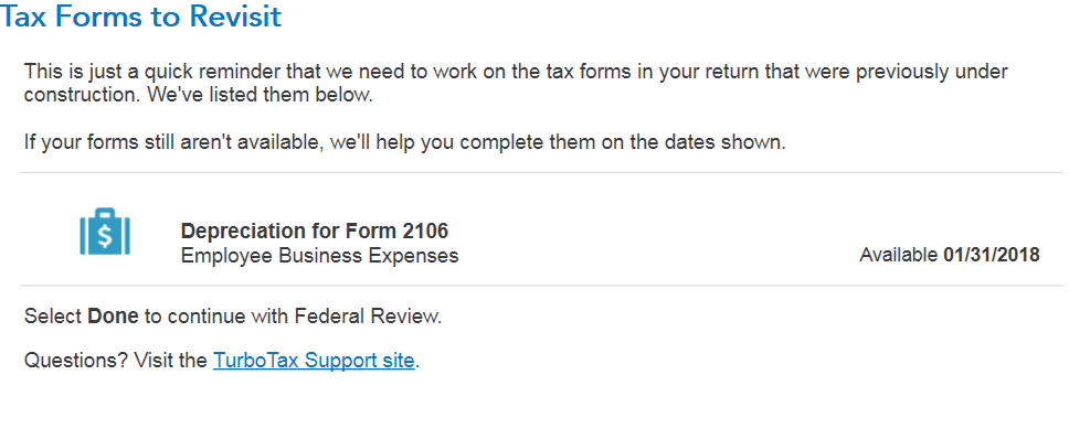 I Keep Getting An Error Saying Form 2106 Is Not Available And Wi