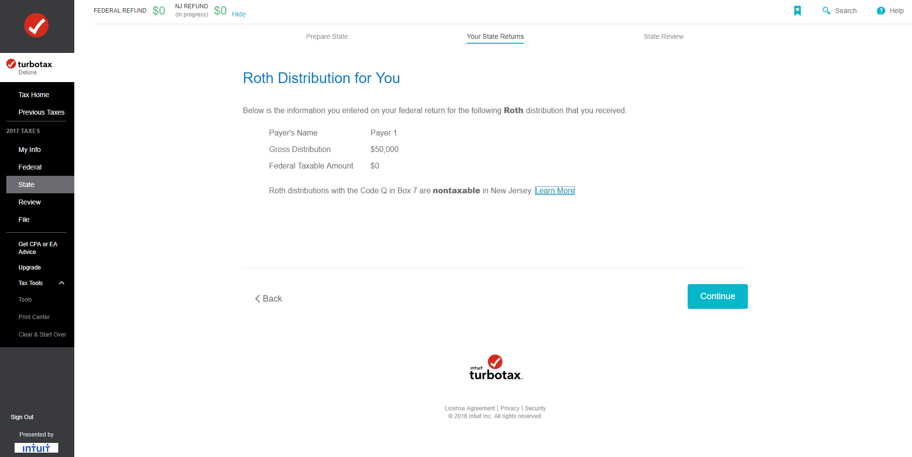 How do i tell turbotax that my 1099 r code t in box 7 is for an rothdistributionforyounontaxableinnjg falaconquin