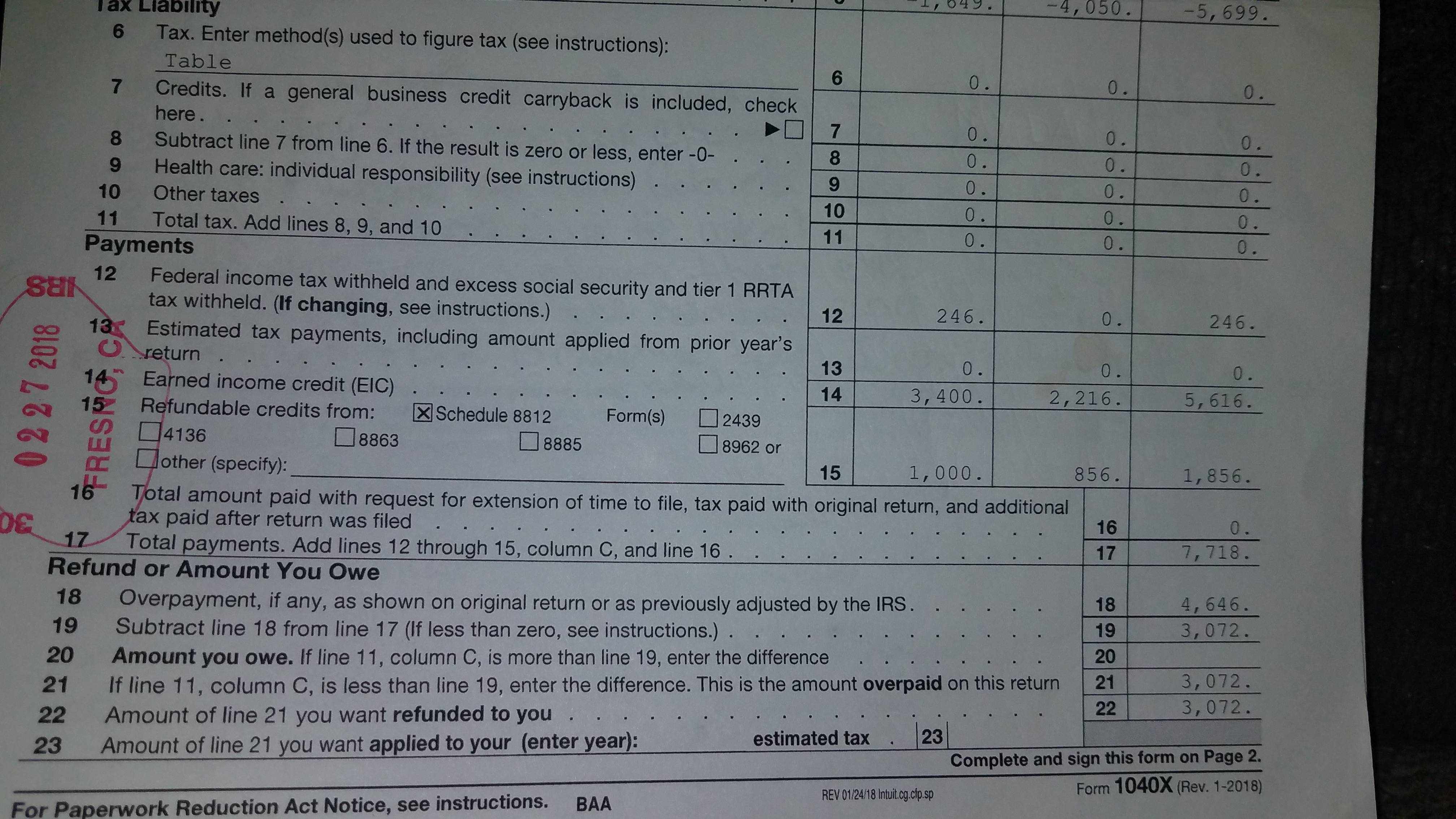 Form 8009 A Explain Your Entry Online 14 Of Your Amended Return