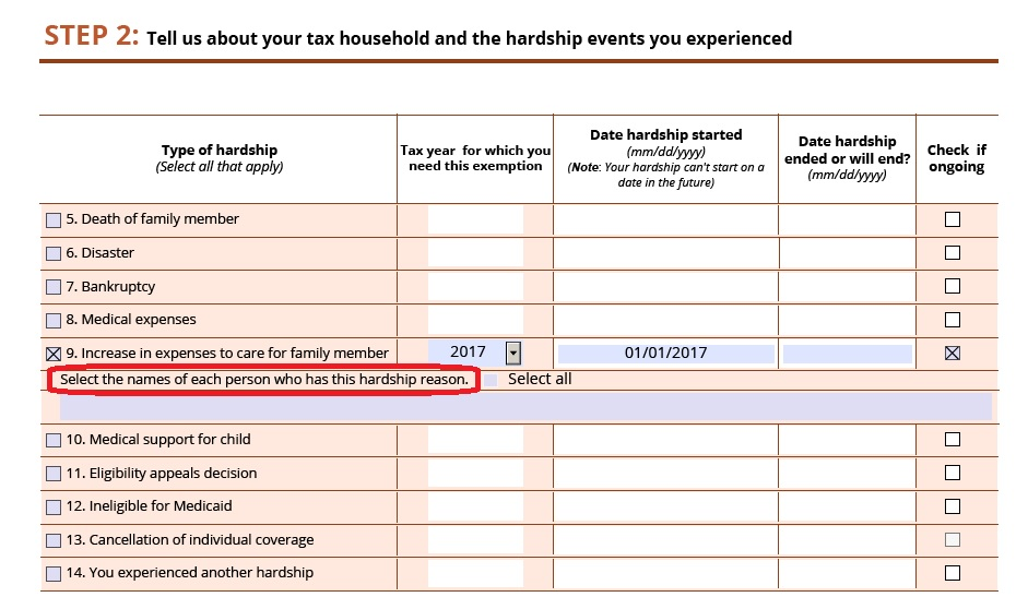 "hardship exemption form from healthcare.gov - how to answer ""sel"