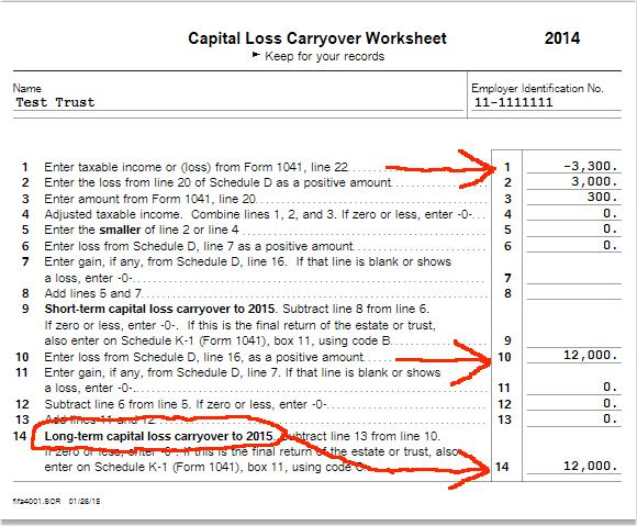 ON a simple estate where 100 is distributed TT comes up with a – 2013 Capital Loss Carryover Worksheet