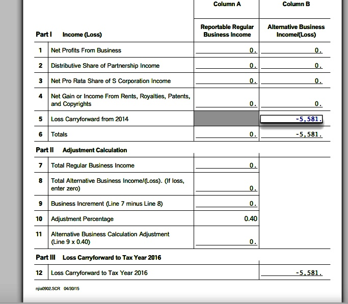 Nj 2015 Turbo Tax Form, I Have A Schedule Nj-Bus-2, Alter. Bus