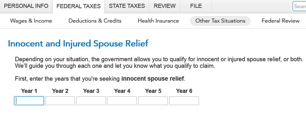How To File Injured Spouse For Multiple Years  Turbotax Support