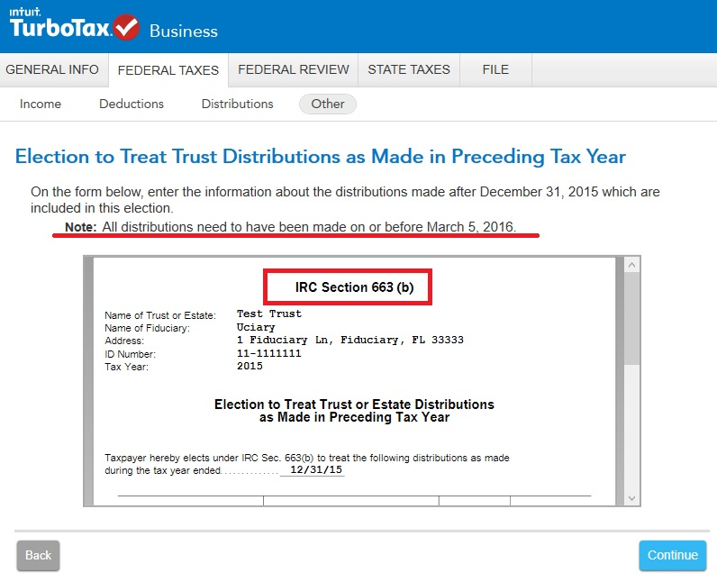 For IRS form 1041, Schedule B: can distributions for tax year be ...