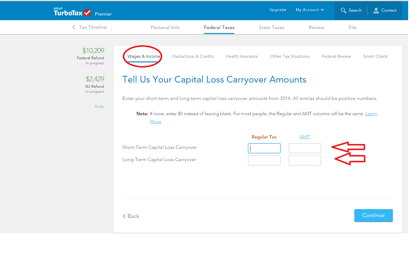 Where to enter long term capital loss amt carryo hr block turbo tax offers this option not hr block falaconquin
