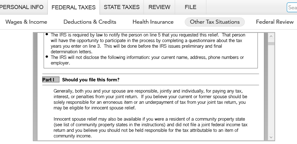 I need to file for injured spouse form 8379. When selecting Misc ...