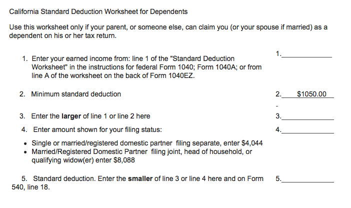 Do I have to file a California return if Im being claimed by so – Standard Deduction Worksheet