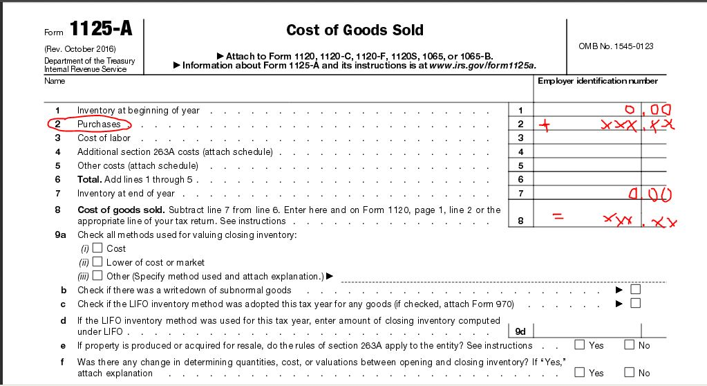 How do you book cost of revenue on your taxes (1065 return or ot ...