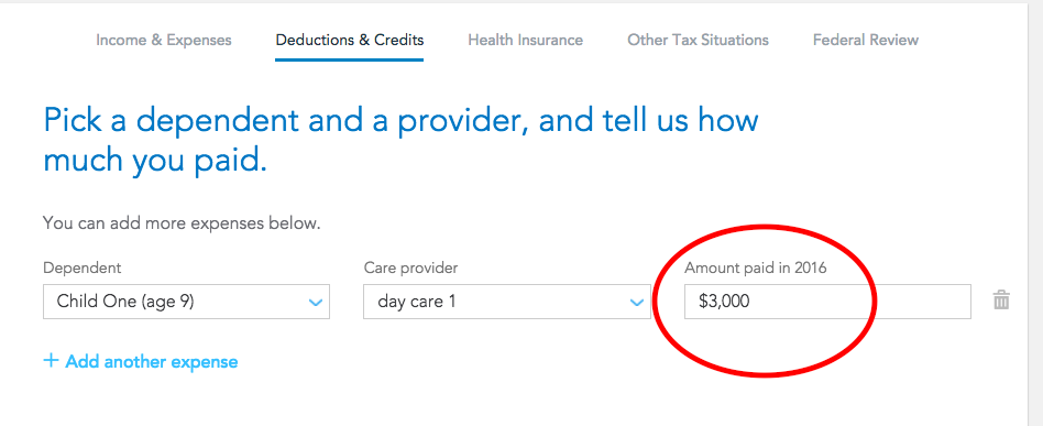 form 2441: provider amount paid-1 must be entered. what am I ent ...