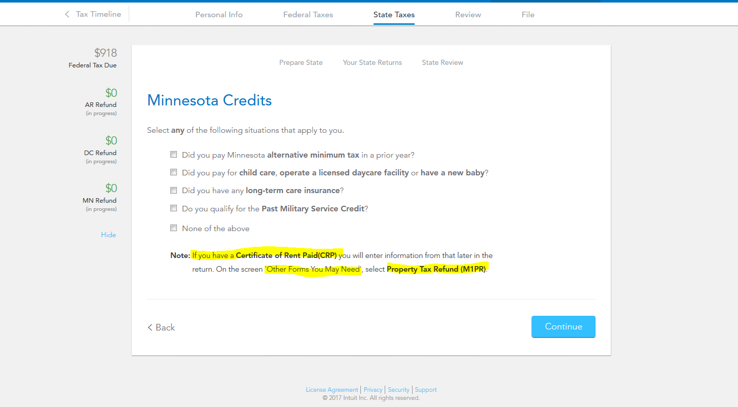 where do I put my minnesota crp certificate of rent paid in 2016 ...