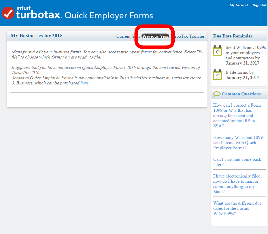 How do I create previous year W-2 and 1099 forms in TurboTax Bus ...