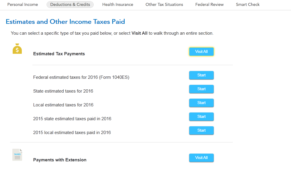 where do I enter New Jersey state estimated tax payments ...