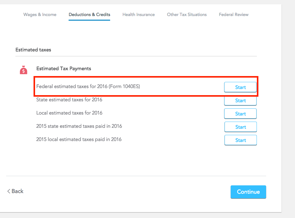 where on form estimated tax paid for 2016 TurboTax Support – Estimated Tax Form