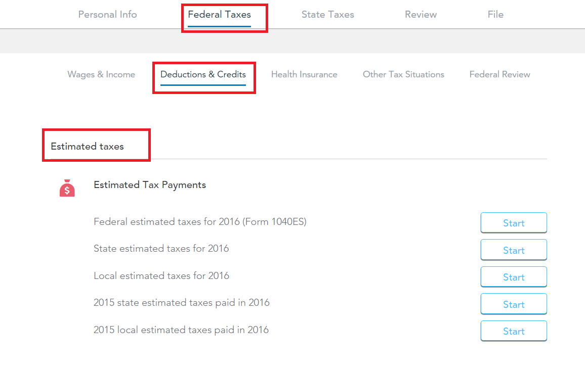 Where do I put the estimated taxes paid in 2016 - TurboTax Support