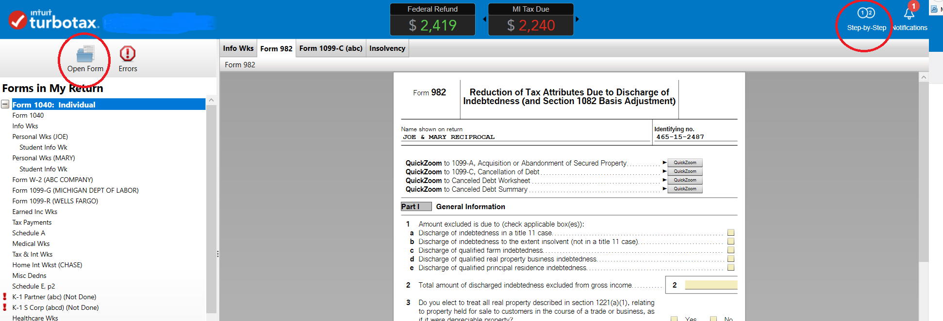 Do i have to add 1099 c cancelled debt to my income if im also form982g falaconquin