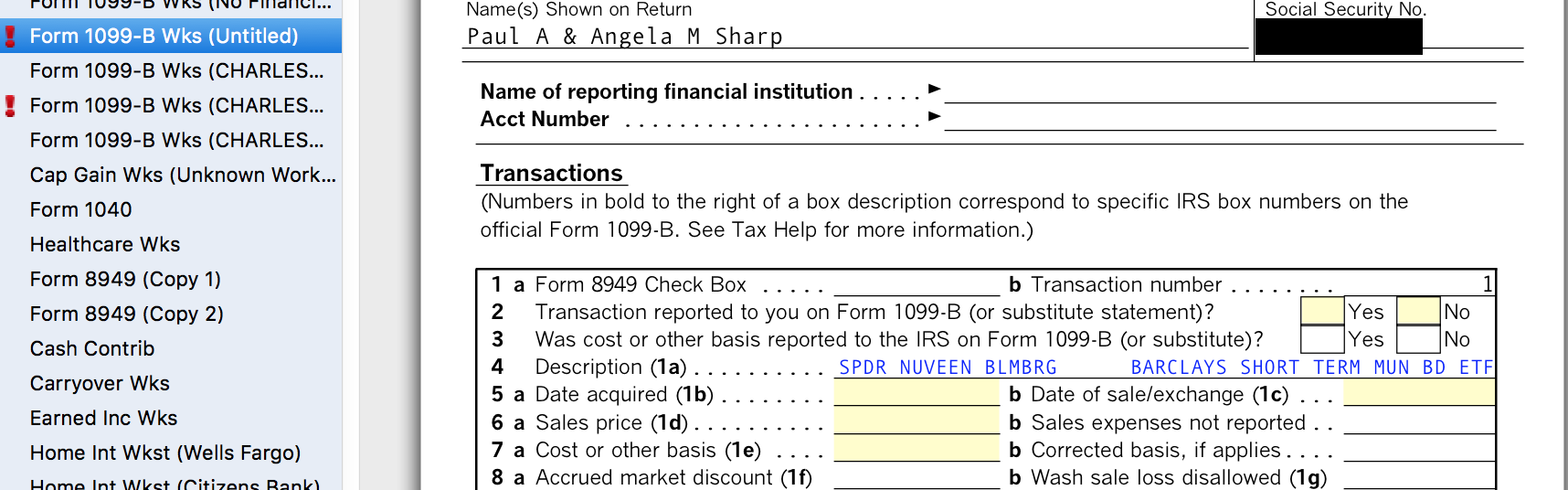 I have a 1099B import from Schwab it seems to have created er – 1099 Worksheet