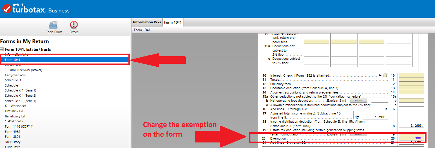 form 1041 line 20 exemption - I was expecting the trust exemptio ...