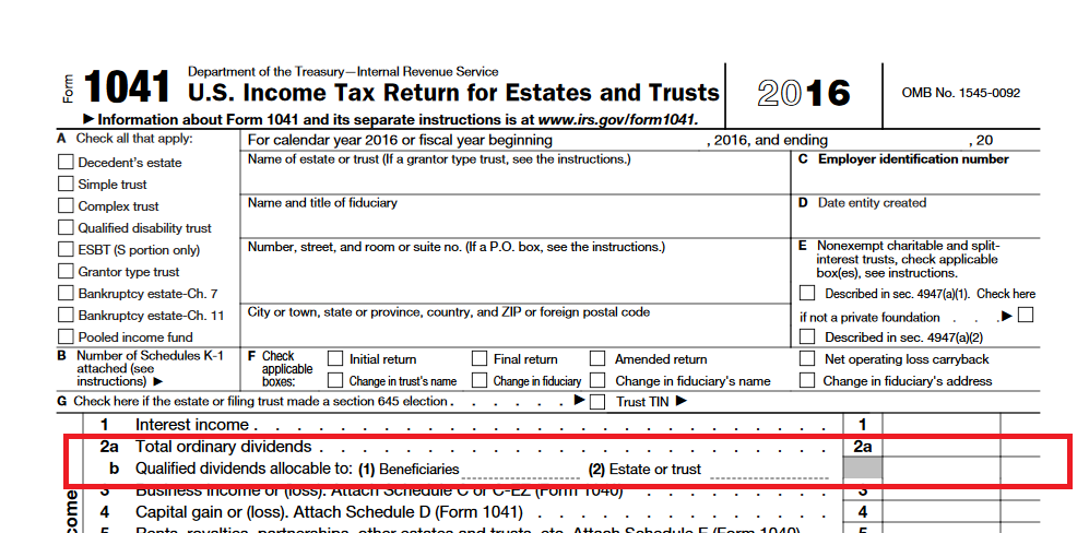 On Form 1041, the only income is 1099-DIV with $1,164 in Ordinar ...