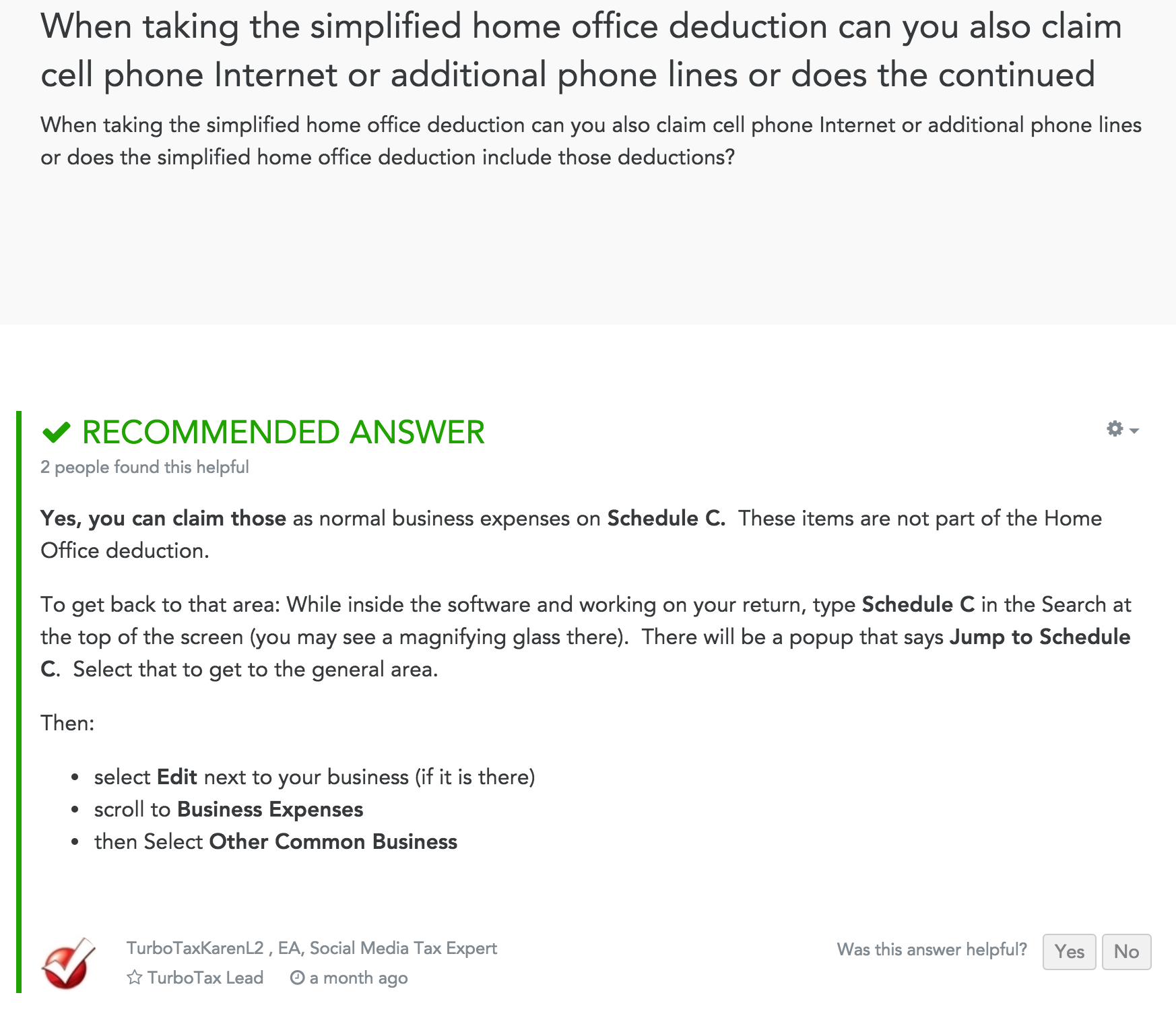 Is Internet Included In The Simplified Home Deduction