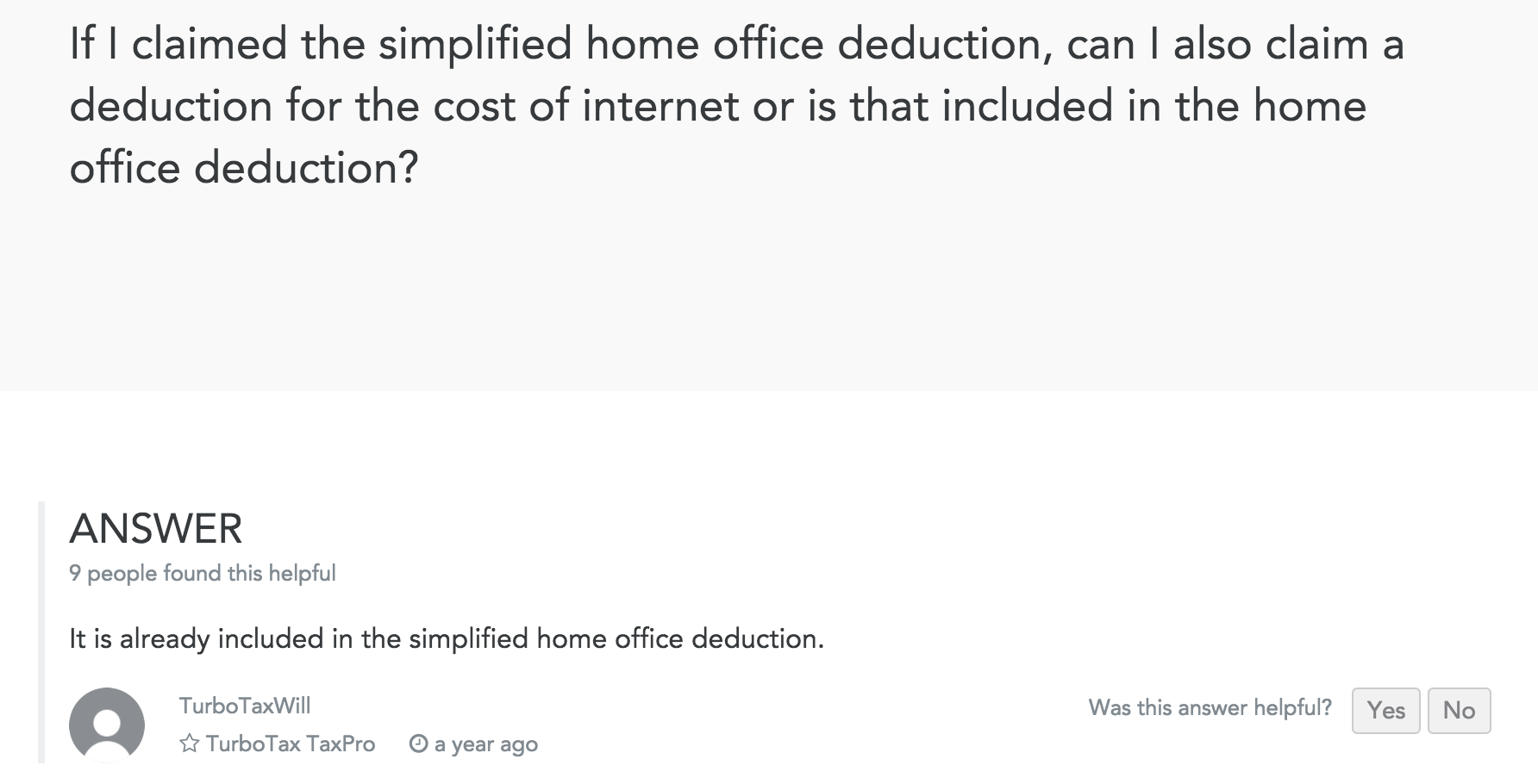 Is internet included in the simplified home deduction? There are ...