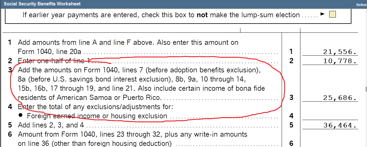 Social Security Benefits Worksheet - line 3 is adding in Line 8B ...