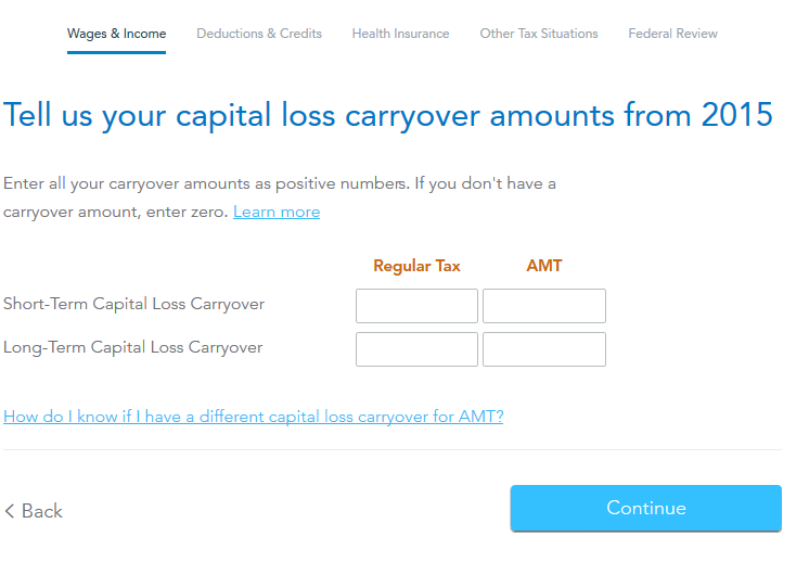 How to amend a return to include ST Capital Loss Carryover ...