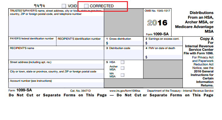 What and where is the corrected box located on form 1099-sa ...