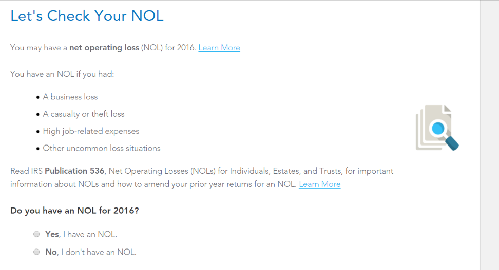 NOL Carryforward from Business Income TurboTax Support – Net Operating Loss Worksheet
