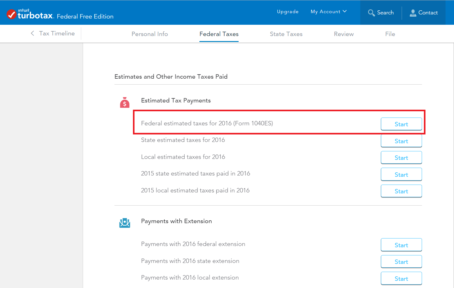 How do I enter Form 1040-ES payments for 2016 - TurboTax Support